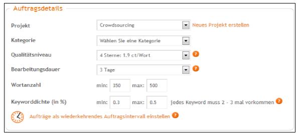 Auftragsdetails Content.de
